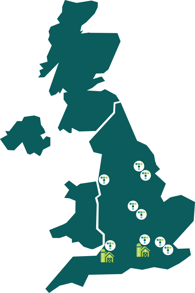 Illustrated map of UK showing Talick locations